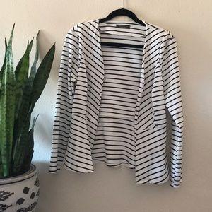Black and white striped cotton blazer